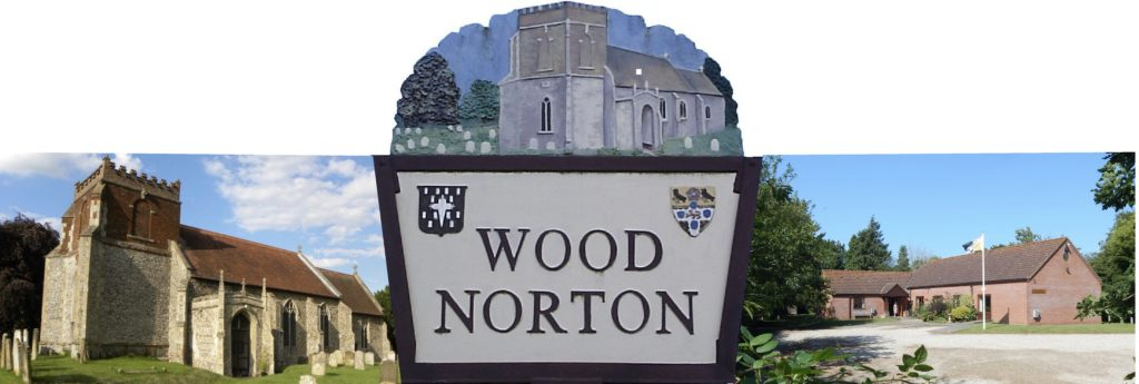 An image of the village sign flanked by All St. Church Wood Norton and the Village Hall